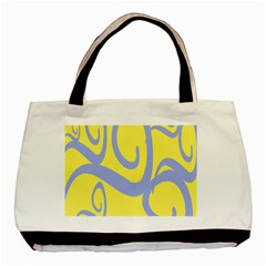 Doodle Shapes Large Waves Grey Yellow Chevron Basic Tote Bag (two Sides)