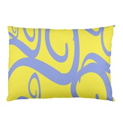 Doodle Shapes Large Waves Grey Yellow Chevron Pillow Case by Alisyart