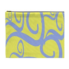 Doodle Shapes Large Waves Grey Yellow Chevron Cosmetic Bag (xl) by Alisyart