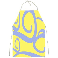 Doodle Shapes Large Waves Grey Yellow Chevron Full Print Aprons