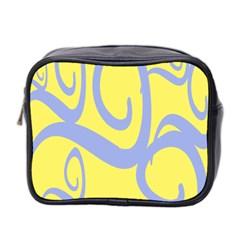 Doodle Shapes Large Waves Grey Yellow Chevron Mini Toiletries Bag 2 Side by Alisyart