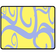 Doodle Shapes Large Waves Grey Yellow Chevron Fleece Blanket (medium)  by Alisyart
