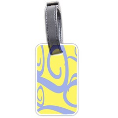 Doodle Shapes Large Waves Grey Yellow Chevron Luggage Tags (two Sides) by Alisyart