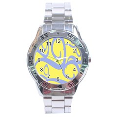 Doodle Shapes Large Waves Grey Yellow Chevron Stainless Steel Analogue Watch