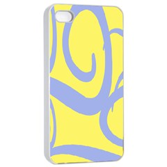 Doodle Shapes Large Waves Grey Yellow Chevron Apple Iphone 4/4s Seamless Case (white) by Alisyart