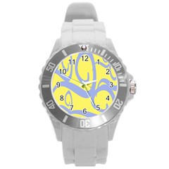 Doodle Shapes Large Waves Grey Yellow Chevron Round Plastic Sport Watch (l) by Alisyart