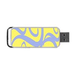 Doodle Shapes Large Waves Grey Yellow Chevron Portable Usb Flash (two Sides) by Alisyart