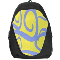 Doodle Shapes Large Waves Grey Yellow Chevron Backpack Bag by Alisyart