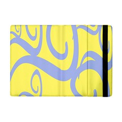 Doodle Shapes Large Waves Grey Yellow Chevron Apple Ipad Mini Flip Case by Alisyart