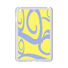 Doodle Shapes Large Waves Grey Yellow Chevron Ipad Mini 2 Enamel Coated Cases