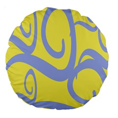 Doodle Shapes Large Waves Grey Yellow Chevron Large 18  Premium Round Cushions by Alisyart