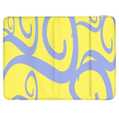 Doodle Shapes Large Waves Grey Yellow Chevron Samsung Galaxy Tab 7  P1000 Flip Case