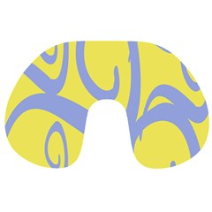 Doodle Shapes Large Waves Grey Yellow Chevron Travel Neck Pillows by Alisyart