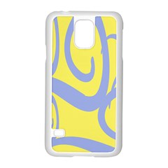 Doodle Shapes Large Waves Grey Yellow Chevron Samsung Galaxy S5 Case (white)