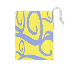 Doodle Shapes Large Waves Grey Yellow Chevron Drawstring Pouches (large)  by Alisyart