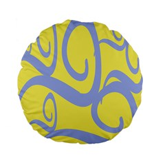 Doodle Shapes Large Waves Grey Yellow Chevron Standard 15  Premium Flano Round Cushions by Alisyart