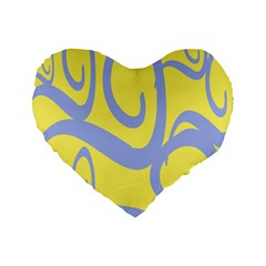 Doodle Shapes Large Waves Grey Yellow Chevron Standard 16  Premium Flano Heart Shape Cushions