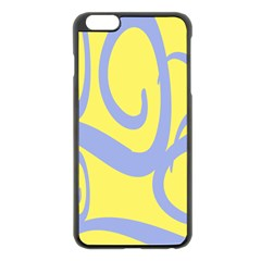 Doodle Shapes Large Waves Grey Yellow Chevron Apple Iphone 6 Plus/6s Plus Black Enamel Case by Alisyart