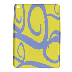 Doodle Shapes Large Waves Grey Yellow Chevron Ipad Air 2 Hardshell Cases