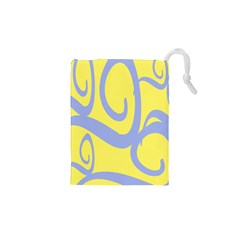 Doodle Shapes Large Waves Grey Yellow Chevron Drawstring Pouches (xs)  by Alisyart