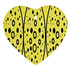 Easter Egg Shapes Large Wave Black Yellow Circle Dalmation Ornament (heart) by Alisyart