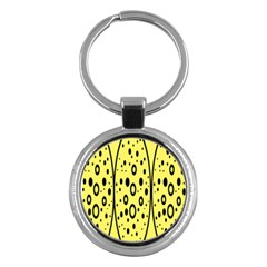 Easter Egg Shapes Large Wave Black Yellow Circle Dalmation Key Chains (round)  by Alisyart