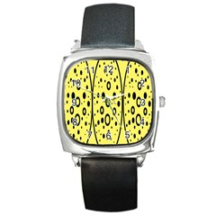Easter Egg Shapes Large Wave Black Yellow Circle Dalmation Square Metal Watch
