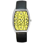 Easter Egg Shapes Large Wave Black Yellow Circle Dalmation Barrel Style Metal Watch Front
