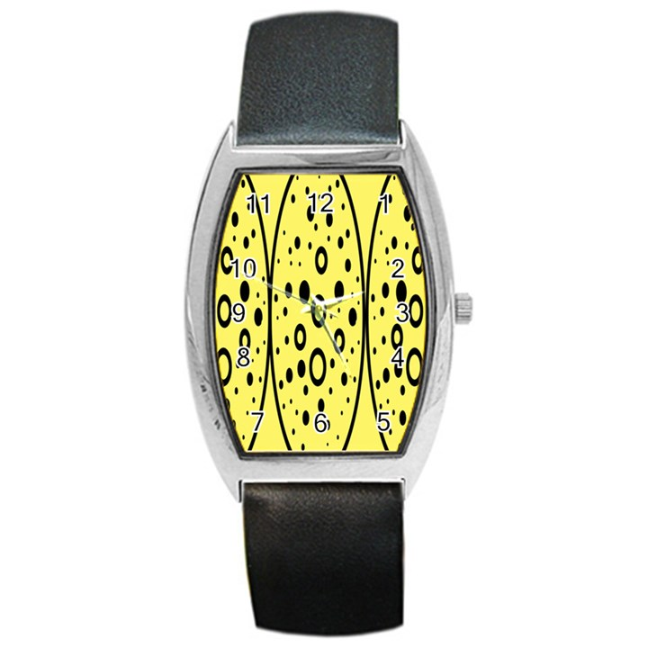 Easter Egg Shapes Large Wave Black Yellow Circle Dalmation Barrel Style Metal Watch