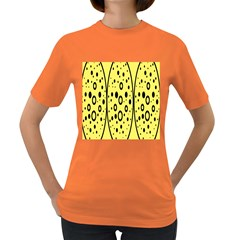 Easter Egg Shapes Large Wave Black Yellow Circle Dalmation Women s Dark T Shirt by Alisyart
