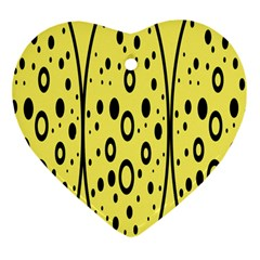 Easter Egg Shapes Large Wave Black Yellow Circle Dalmation Heart Ornament (two Sides) by Alisyart