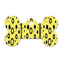Easter Egg Shapes Large Wave Black Yellow Circle Dalmation Dog Tag Bone (two Sides) by Alisyart