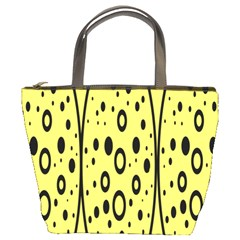 Easter Egg Shapes Large Wave Black Yellow Circle Dalmation Bucket Bags by Alisyart