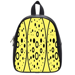 Easter Egg Shapes Large Wave Black Yellow Circle Dalmation School Bags (small)  by Alisyart