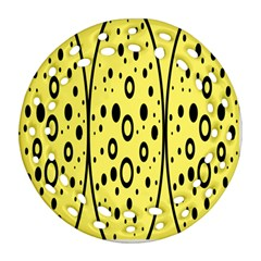 Easter Egg Shapes Large Wave Black Yellow Circle Dalmation Round Filigree Ornament (two Sides)