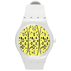 Easter Egg Shapes Large Wave Black Yellow Circle Dalmation Round Plastic Sport Watch (m)