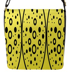 Easter Egg Shapes Large Wave Black Yellow Circle Dalmation Flap Messenger Bag (s)