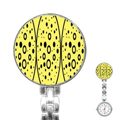 Easter Egg Shapes Large Wave Black Yellow Circle Dalmation Stainless Steel Nurses Watch by Alisyart