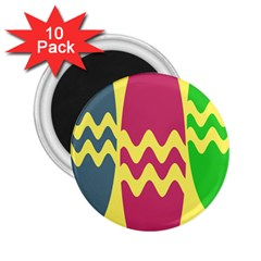 Easter Egg Shapes Large Wave Green Pink Blue Yellow 2 25  Magnets (10 Pack)  by Alisyart