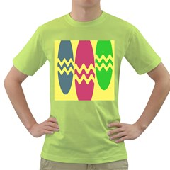 Easter Egg Shapes Large Wave Green Pink Blue Yellow Green T Shirt by Alisyart