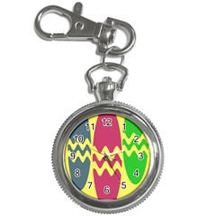 Easter Egg Shapes Large Wave Green Pink Blue Yellow Key Chain Watches
