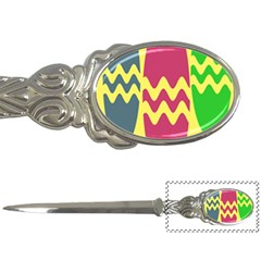 Easter Egg Shapes Large Wave Green Pink Blue Yellow Letter Openers