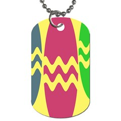 Easter Egg Shapes Large Wave Green Pink Blue Yellow Dog Tag (two Sides) by Alisyart