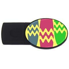 Easter Egg Shapes Large Wave Green Pink Blue Yellow Usb Flash Drive Oval (4 Gb) by Alisyart