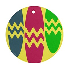 Easter Egg Shapes Large Wave Green Pink Blue Yellow Round Ornament (two Sides) by Alisyart