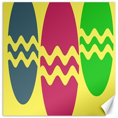 Easter Egg Shapes Large Wave Green Pink Blue Yellow Canvas 20  X 20