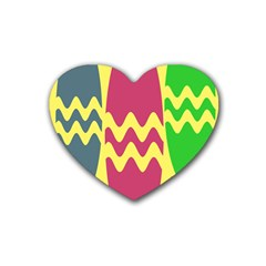 Easter Egg Shapes Large Wave Green Pink Blue Yellow Heart Coaster (4 Pack)  by Alisyart