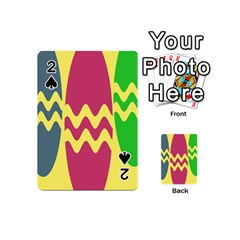 Easter Egg Shapes Large Wave Green Pink Blue Yellow Playing Cards 54 (mini)