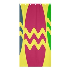 Easter Egg Shapes Large Wave Green Pink Blue Yellow Shower Curtain 36  X 72  (stall)  by Alisyart