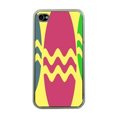Easter Egg Shapes Large Wave Green Pink Blue Yellow Apple Iphone 4 Case (clear)